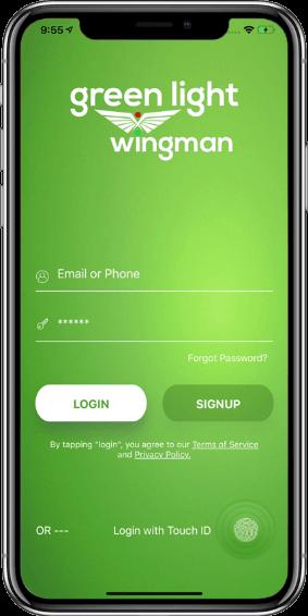 Green Light- Login Screen on Mobile
