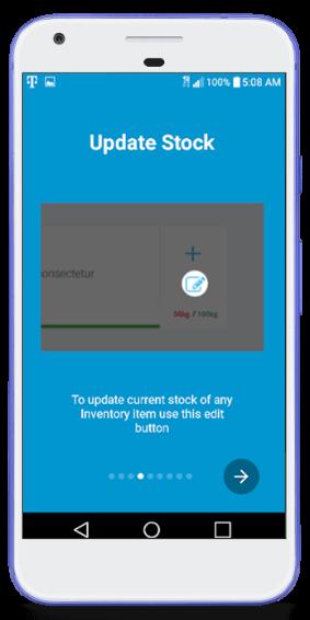 Update Stock- Mobile App Screen