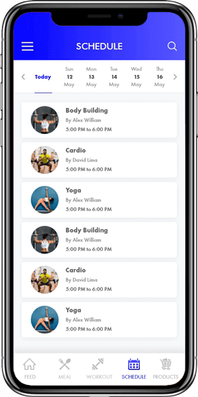 Body Fitness- Schedule Screen on Mobile