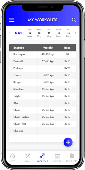 Body Fitness- Workouts Screen for Mobile App
