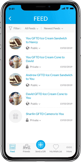 GFTD- FEED Screen on Mobile